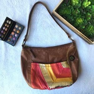 The Sak colorblock leather hobo gold shoulder bag